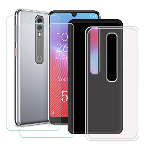 YZKJ 2 Pack Case for Vodafone Smart V10 Cover + 2 x Screen Protector Tempered Glass Protective Film - Flexible Soft Gel Crystal Transparent + Black TPU Silicone Protection Case for (5.9