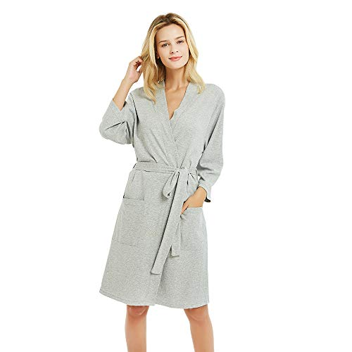 U2SKIIN Kimono Bathrobe for Women with 3/4 Sleeves, Lightweight Cotton Short Robe Ladies Longewear for SPA Bathing Wedding ... Grey