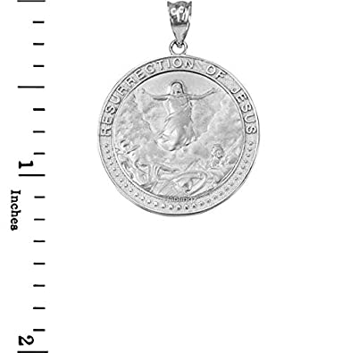 LA BLINGZ 10K White Gold Resurrection of Jesus Round Medallion Pendant Necklace