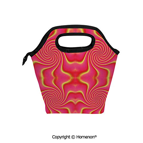 (Insulated Neoprene Soft Lunch Bag Tote Handbag lunchbox,3d prited with Pop Art Produced Figural Expanding Shady Lines and Nested Shape,For School work Office Kids Lunch Box & Food Container)