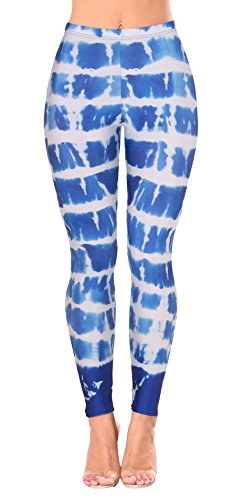 Light Blue Tie Dye - Jescakoo Womens Cool Cosplay Costume Skinny Stretch Leggings Bright Blue Tie Dye Print L