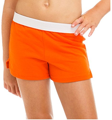 Soffe Youth Girls' Authentic Soffe Shorts (Orange/White, X-Large) by Soffe