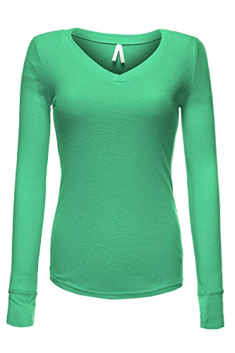 Luna Flower GTEW048 Women's Basic Sexy Deep V-Neck Long Sleeve Thermal Tee Tops Mint (Basic Thermal Cami)