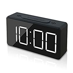 GLOUE Small Mini Digital Alarm Clock for Travel with LED Time or Temperature Display, Snooze, Adjustable Brightness, Simple Operation, 12/24Hr (New)