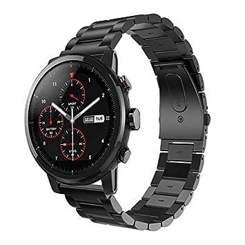 Saisiyiky Correa Compatible con Amazfit HUAMI Stratos 2 de Acero Inoxidable Reloj Banda Hebilla de Metal