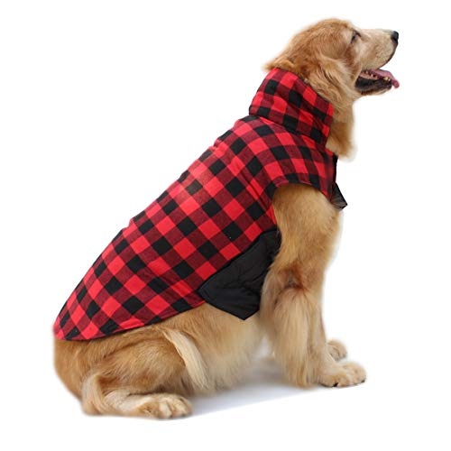 Hiado Dog Coats Clothes with Harness Hole British Style for Winter Cold Weather Chest 26-29 Inch Red Black Large