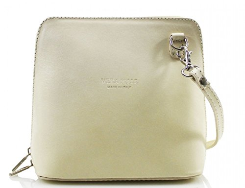 D8cm x BAGS 011 CROSS W18cm BODY H16cm ITALY GENUINE x BEIGE SHOULDER SMALL LEATHER LeahWard® Tw6RC1qF