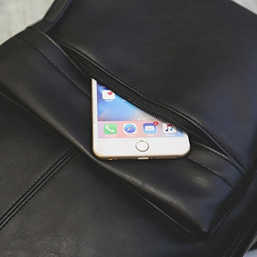 Todaies Men's Women's Leather Backpack Laptop Satchel Travel School Rucksack Bag (31cm(L) 44cm(H) 11cm(W), Brown)