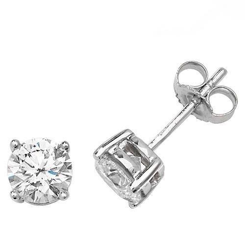 Diamant Boucles d'oreilles clous Illusion Plaque Or Blanc 9Carats H I22D 0,20ct