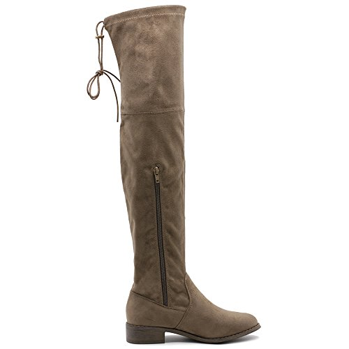 Ollio Damen Schuh Kordelzug Stretch Faux Suede oder Kunstleder Overknee Zip Up Long Boots Taupe-Wildleder