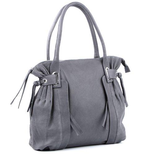 BACCINI bolso de hombro MONA: cartera para mujer XL - bolso de asas de cuero gris - (47 x 36 x 9cm)