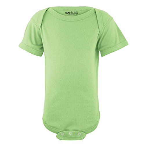 Apericots Super Soft Cotton Blank Plain Comfy Baby Short Sleeve Bodysuit  Spring Green  6 Months