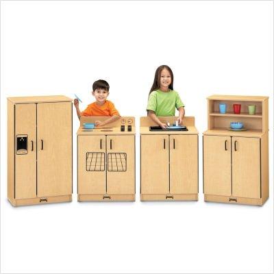 Jonti-Craft 2030TK Natural Birch Play Kitchen 4 Piece Set - - Craft Kitchen Jonti