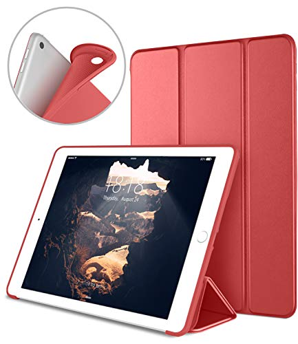 DTTO iPad 9.7 Case 2018 iPad 6th Generation Case / 2017 iPad 5th Generation Case, Slim Fit Lightweight Smart Cover with Soft TPU Back Case for iPad 9.7 2018/2017 [Auto - Ipad Case Red Apple