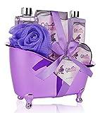 Spa Gift Basket Lavender Fragrance, Cute Tub-Shaped Holder With Bath Accessories - Great Wedding, Birthday or Anniversary Gift Set - Includes Shower Gel, Bubble Bath, Bath Salts, Bath Bombs & more!