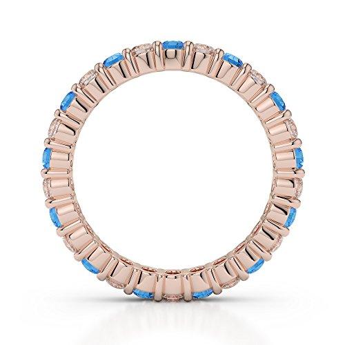 Or Rose 18carats 1/2ct G-H/VS sertie de diamants Coupe ronde Topaze bleue et bague éternité Agdr-1111
