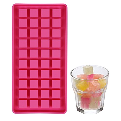 40 Mini Ice Cube Trays Easy Pop Out ice cube Maker Soft Silicone Non Stick Perfect For Party BBQ Garden BPA Free FDA Approved (Square ()