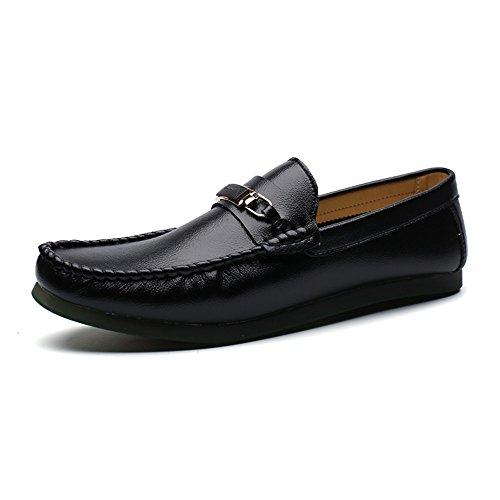 Men's Black Moccasins Loafers Leather Shoes Boat On SHELAIDON Flats Slip 6F1qwqgx