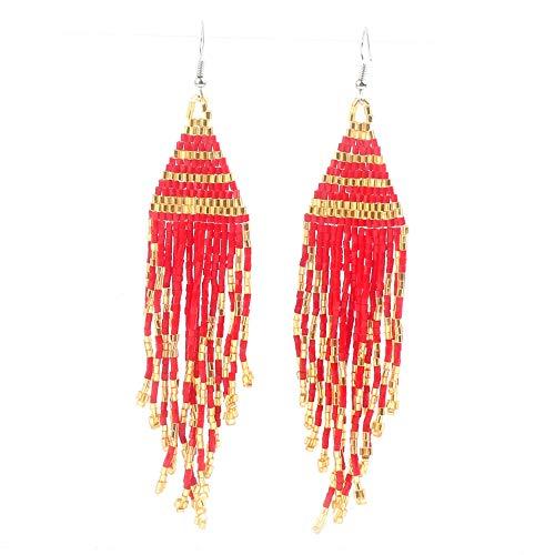 (BALIBALI Long Dangle Native American Beaded Tassel Earrings with Fringe MIYUKI Seed Bead Boho Statement Earrings for Women Girls)