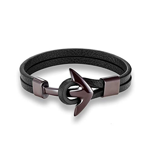 Cyan mango Men Vintage Leather Bracelet Stainless Steel Wristband Anchor Bracelet Punk Men Jewelry Accessories