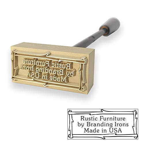 Custom Fire Heated Branding Iron with Twig Border Includes Handle - Large Size