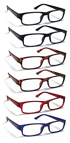6 Pack Reading Glasses by BOOST EYEWEAR, Traditional Frames in Black, Tortoise Shell, Blue and Red, for Men and Women…