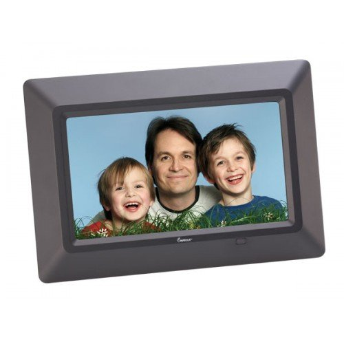 Impecca DFM-720 7″ 3-in-1 Digital Photo Frame with 16:9 Aspect Ratio, Built in Speakers, Black
