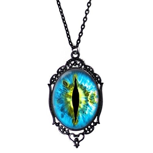 Project Pinup Blue & Green Dragon Eyeball 30x40mm Black Cameo Filigree Necklace with 18
