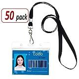 Aobear 50 pcs Waterproof Transparent Horizontal Name Tag id Badges and Black lanyards(Metal Swivel J-Hook)