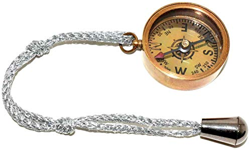 (Nautical Gift Decor Solid Brass Compass with Lid Key Chain, 5