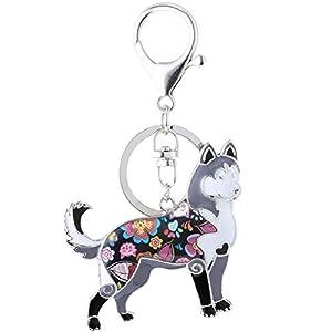 Marte&Joven Siberian Husky Keychain for Women Dog Lover Unique Enamel Dog Jewelry Gift 2