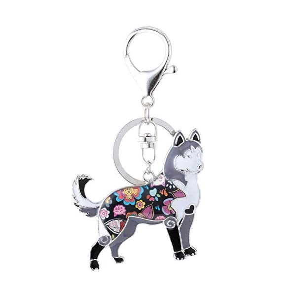 Marte&Joven Siberian Husky Keychain for Women Dog Lover Unique Enamel Dog Jewelry Gift 1