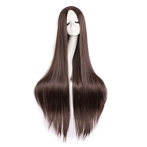 "Price comparison product image MapofBeauty 40""/100cm Natural Soft Straight Long Cosplay Wig (Dark Brown)"