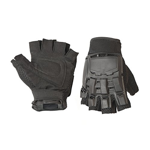 ALEKO PBHFG44 Medium Paintball Airsoft Outdoor Sports Military Tactical Half Finger Gloves, Black by ALEKO