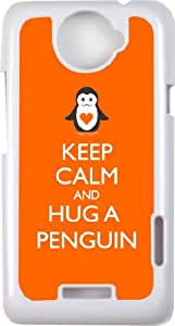 Rikki KnightTM Keep Calm and Hug a Penguin Orange Color - White Cell HTC ONE X Case Cover for HTC ONE X