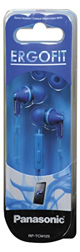 Pickup Panasonic ErgoFit Best in Class In-Ear Earbuds Headphones with Mic/Controller RP-TCM125-A (Blue) iPhone, Android Compatible, Noise Isolating Headphones wholesale