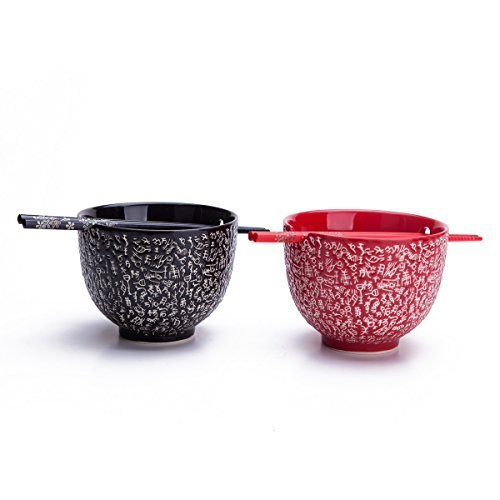 2 Rice / Soup / Noodle Bowls & 2 Paris Of Chopsticks Dinnerware Set Red & Black, Chinese Calligraphy Design