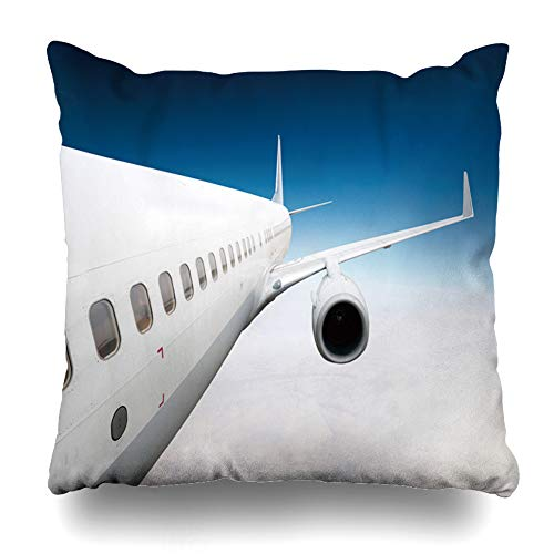 Ahawoso Throw Pillow Cover Sky Blue Turbine Wing Airplane Cruising Above Horizon Clouds Nature Air Aircraft Airliner Airport Home Decor Pillow Case Square Size 16x16 Inches Zippered Pillowcase