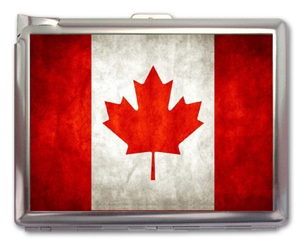 Metal Cigarette Case with Built in Lighter Canada Flag 01 100's Size Cigarettes Silver Metal Wallet 4.75