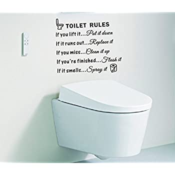Toilet Rules Bathroom Art Wall Quote Stickers Wall Decals Bathroom  Decoration