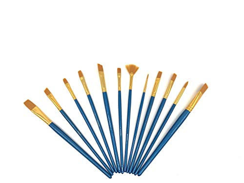 UNIVERSAL MaxxArt Paint Brushes 12 pcs Pack Flat Rectangular Round Pointed Tip Nylon Hair Acrylic Brush for Water Color Oil Painting Bristle Ornament for Art Kids Toddlers Artist Adult Men Women