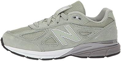 New Balance Girls' 990v4 Sneaker, Silver MinkWhite, 10 W US