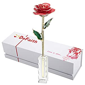 DEFAITH 24K Gold Rose, Unique for Her, Made from Real Rose Flower with Stand 57