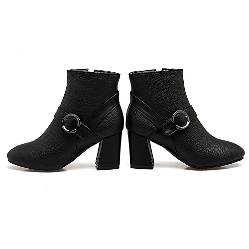 Elegant Bloc With Talon Zipper Cheville COOLCEPT Bottes Black Femmes gYTXIx5