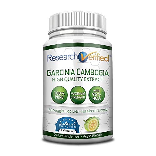 Garcinia Cambogia Pure Extract 95% HCA (Top Proven Potency) by Research Verified - All Natural Appetite Suppressant and Weight Loss Supplement - 100% Money Back Guarantee!