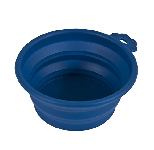 Petmate 23369 Silicone Round 3-Cup Travel Bowl for Pets, Navy Blue Review