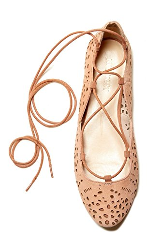 Ballet Toe Lt Zavanna Almond Pink Womens Ankle Nine Leather Flats Wrap West xqvHwnX8