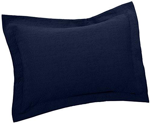 Pinzon Ivy Matelasse Cotton Sham, Standard, Midnight Blue