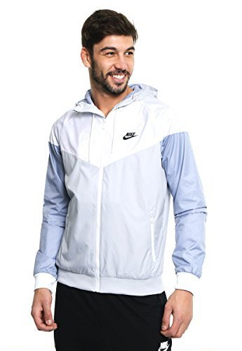 (Nike Mens Windrunner Hooded Track Jacket Pure Platinum/White/Glacier Grey 727324-044 Size X-Large)