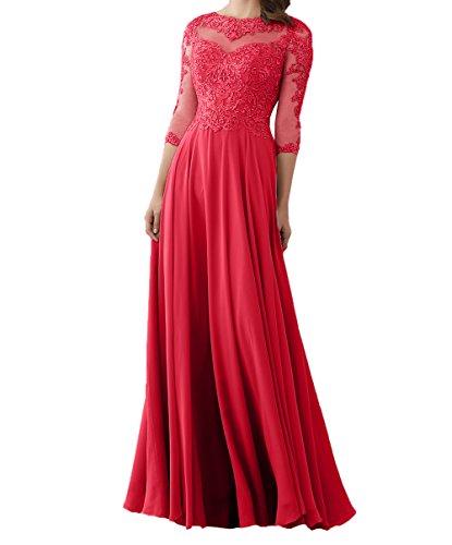 Damen Formalkleider Charmant Ballkleider Abendkleider Lang 3 Brautmutterkleider Spitze Partykleder Langarm 2018 4 Rot Neu dFSFvw